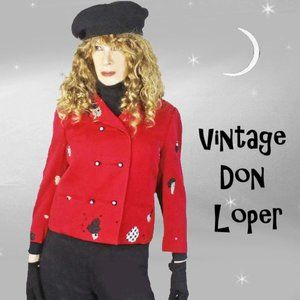 Funky Upcycled Vintage Red Jacket by Don Loper
